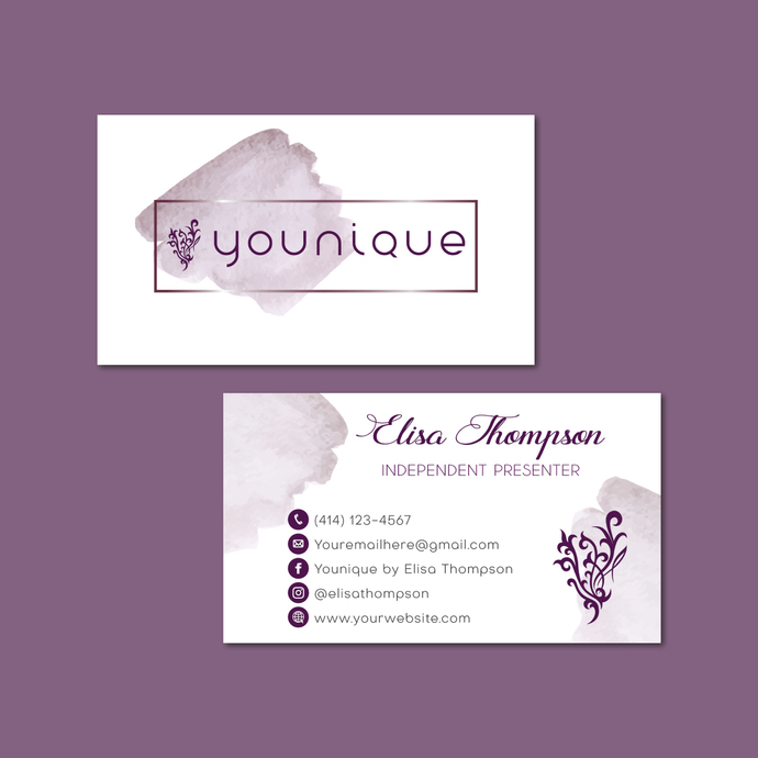 Watercolor Personalized Younique Business Cards, Younique Printable Cards,