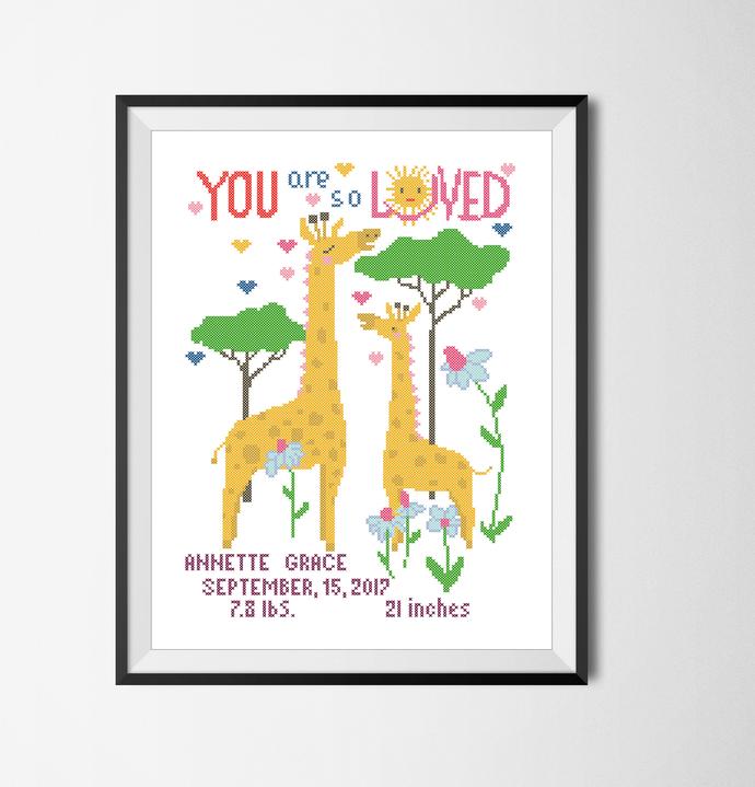 #394 Birth announcement Animal personalized order Modern Cross Stitch Pattern