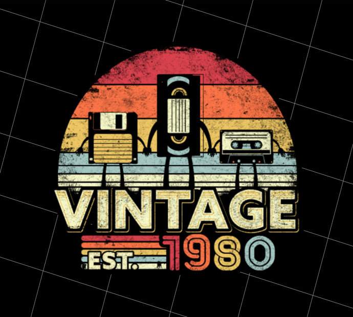1980 Vintage Birthday Gift, United States, Stars And Stripes, Gift Idea, Digital