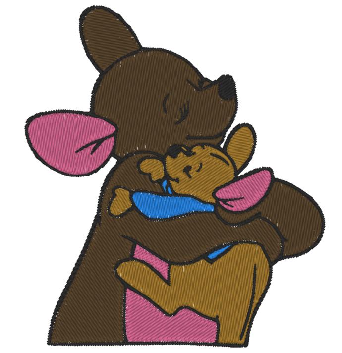4 x 4- Hoop Size -Machine Embroidery Design - Disney Kanga and Baby Roo Hugging
