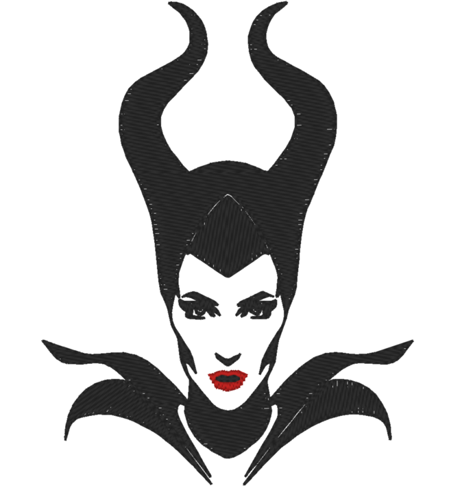 4 x 4 Hoop Size - Machine Embroidery Design -  Disney Maleficent - Many Formats