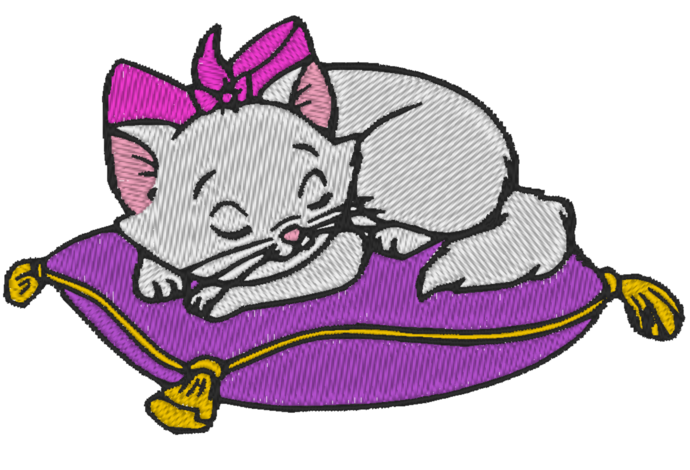 4 x 4 Hoop Size - Machine Embroidery Design - Disney Aristocats  Marie - Many