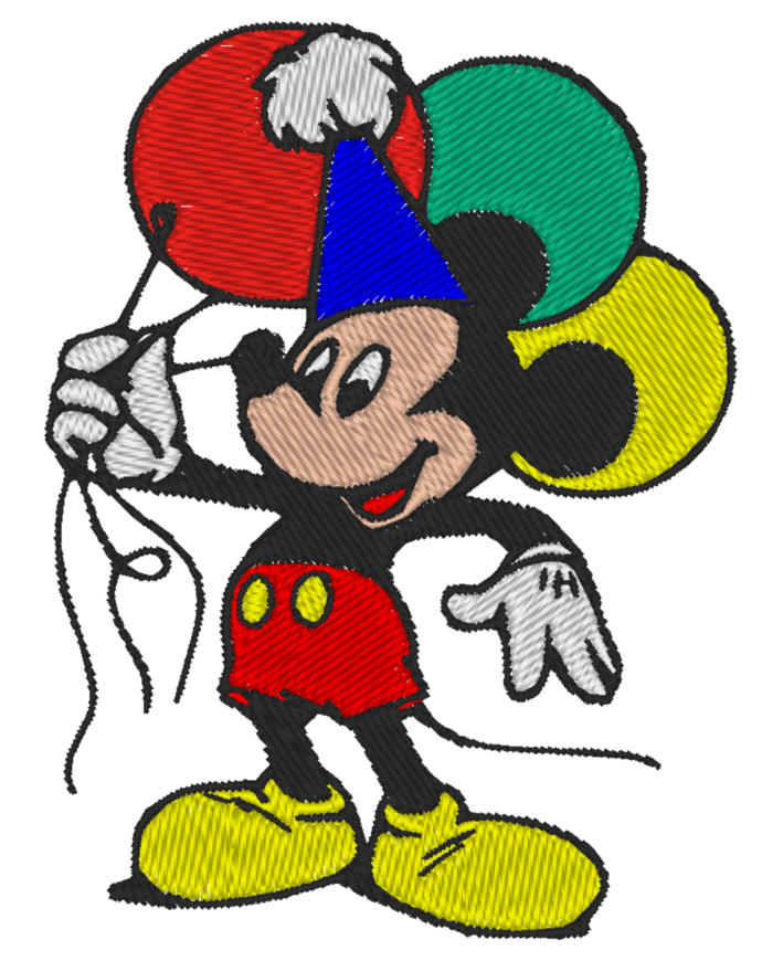 4 x 4 Hoop Size - Machine Embroidery Design - Disney Mickey - Many Formats