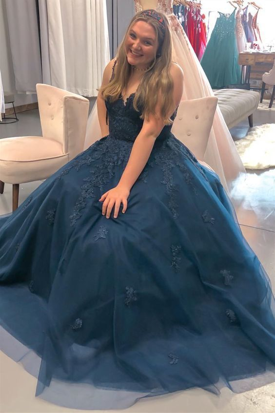 cheap navy prom gowns, ball gown long prom dresses M2412