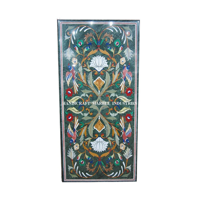 48X24 Inch Table Birds Inlay Green Marble Coffee Table Living Room Furniture