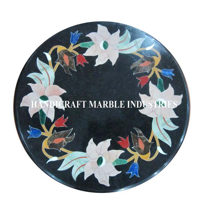 Marble Coffee Table top Pietra Dura Floral Pattern Inlay Marquetry Side Table,