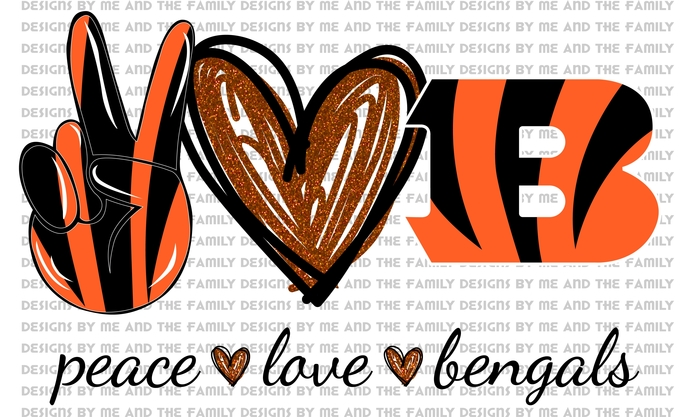 Peace love Bengals V2, peace love football, NFL, peace love tiger stripes,