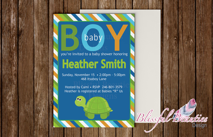 Turtle Themed Baby Boy Baby Shower Invitation