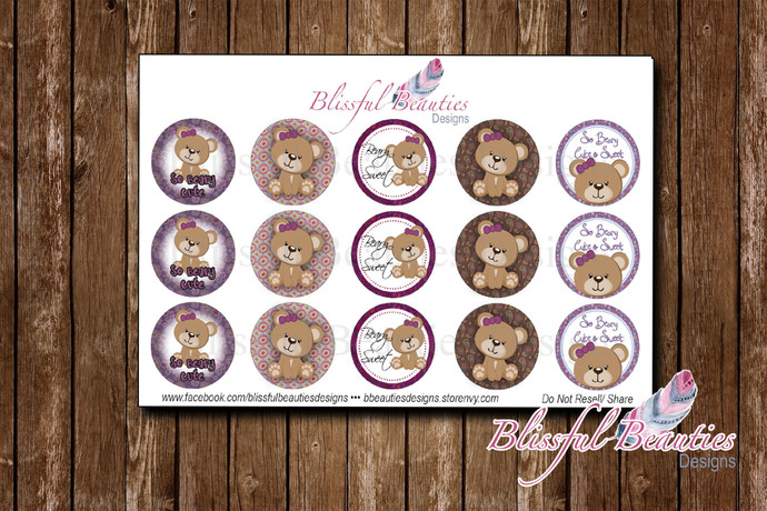 "Beary Sweet - 1"" Round Bottle Cap Images"