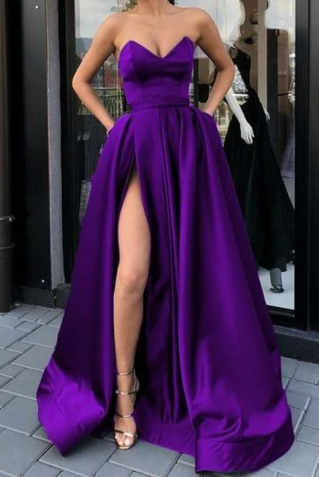 purple satin strapless prom dresses with pockets