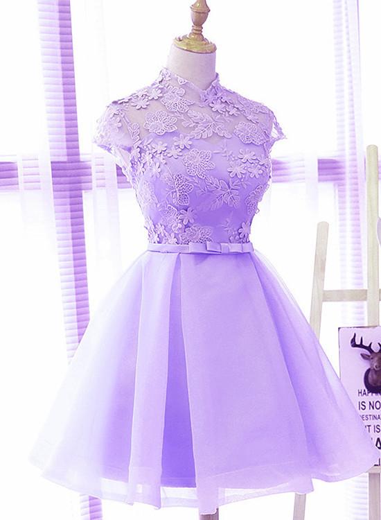 Light Purple Cute Short Party Dress, Blue Homecoming Dress, Graduation Dress