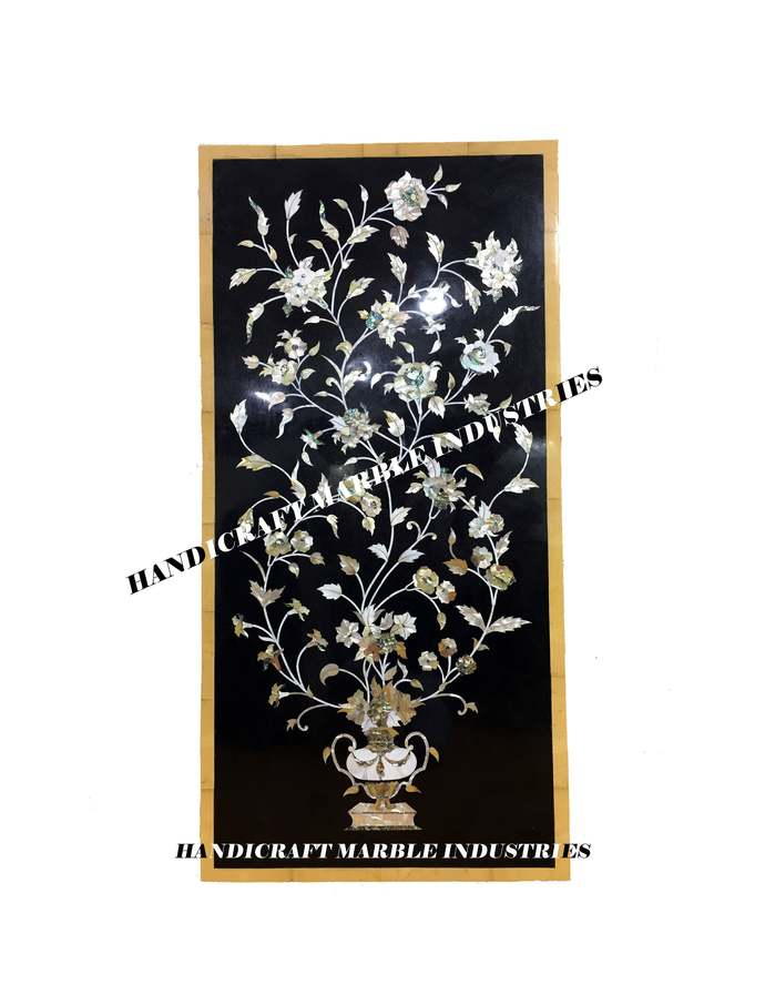 Black Marble Inlay Dining Table, Mother Of Pearl / Abalone Shell Inlay / Paua