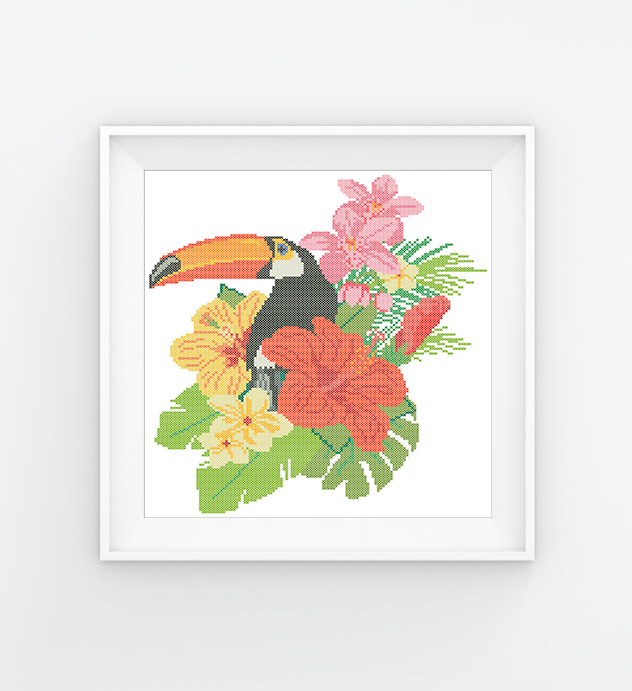 #372 Toucan Hawaiian flowers Modern Cross Stitch Pattern orchids counted cross