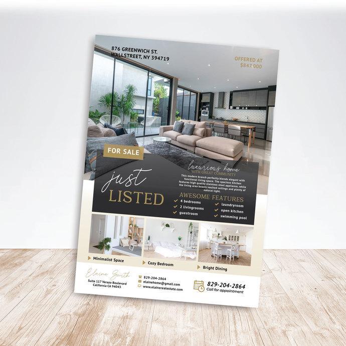 Real Estate Flyer Template, Just listed flyer, Open house flyer, Realtor flyer,