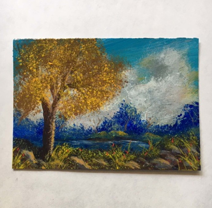 Landscape original hand-painted ACEO by Dawn Blair