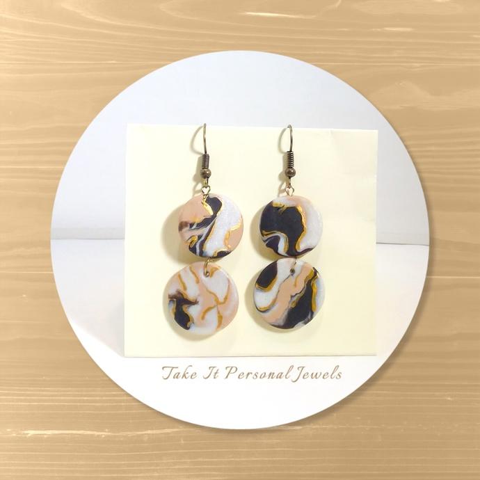 Handmade Marble Style /Swirl Polymer Clay Earrings