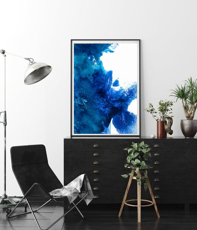 Abstract Wall Art Print, blue Painting, Aqua modern printable, Modern