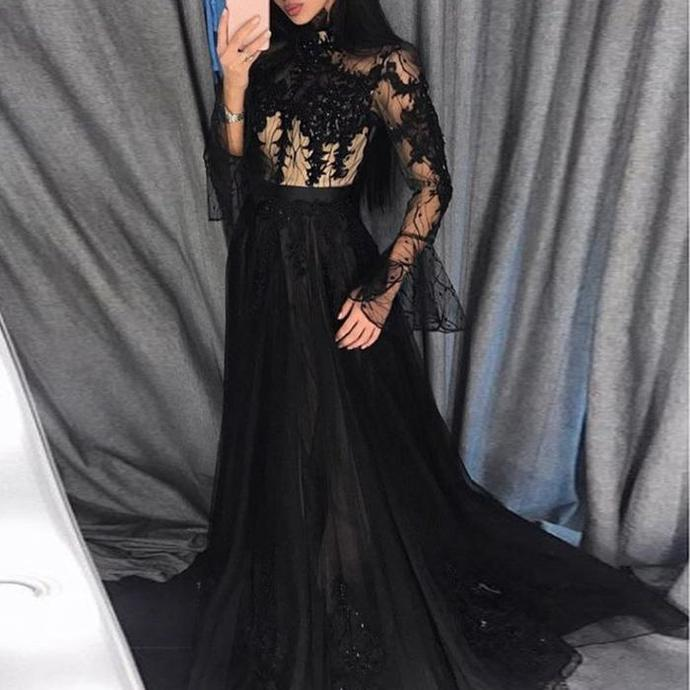 black Lace Applique prom dresses long sleeve beaded elegant vintage prom gown