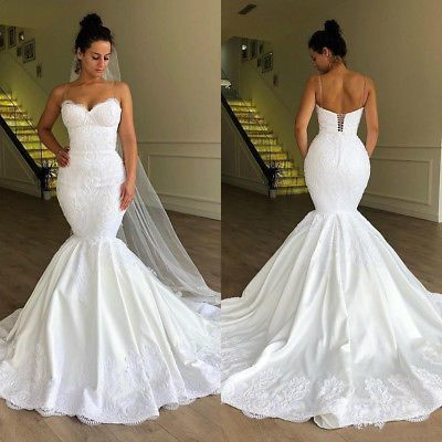 spaghetti strap mermaid wedding dresses for bride vestido de novia lace applique