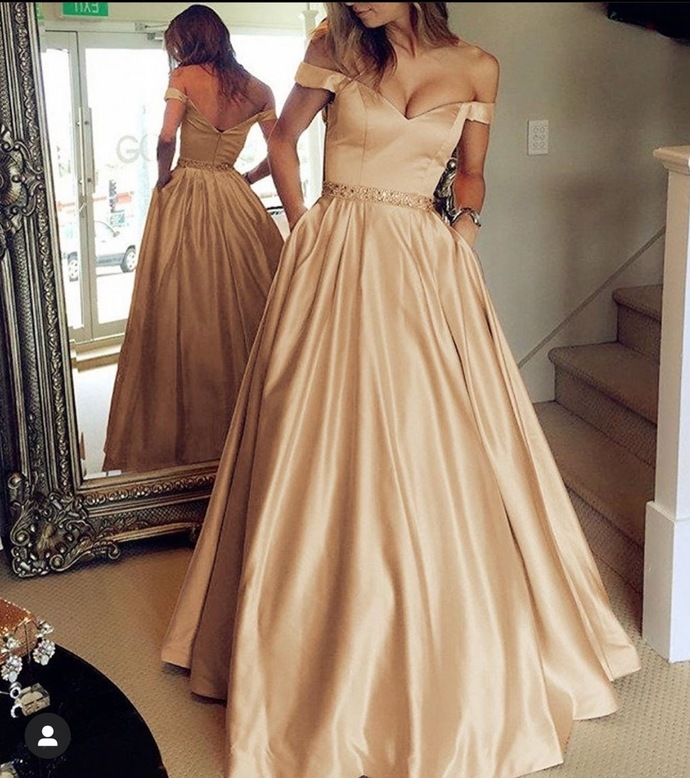 gold beaded prom dresses with pockets off the shoulder satin cheap simple prom