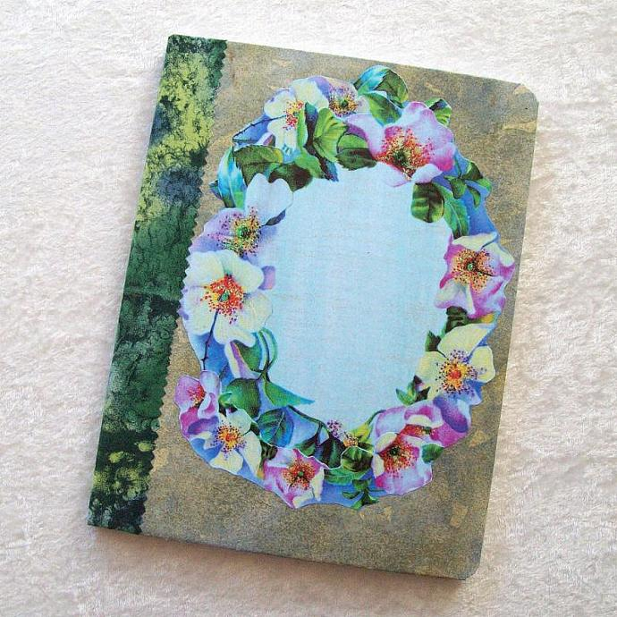 Journal - Composition Book, Blue Floral Wreath - 9.75 x 7.5 inches, 100 sheets,
