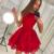 red tiered homecoming dresses short lace applique cheap prom dresses vestido de