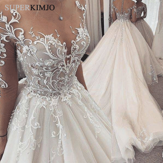 light champagne wedding dresses ball gown lace applique simple elegant beaded