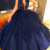 navy blue ball gown prom dresses deep v neck sleeveless vintage lace applique