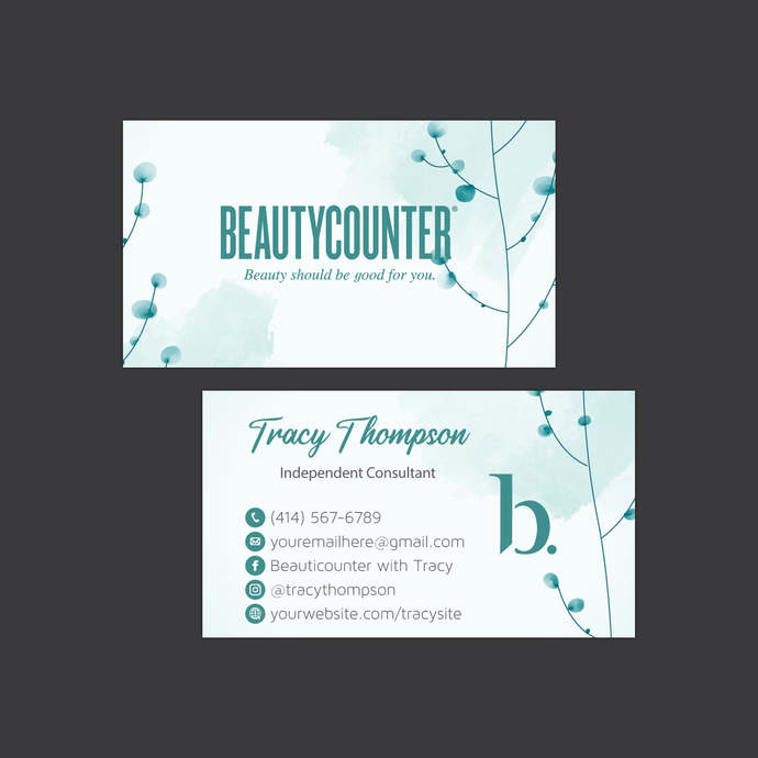 Watercolor Beautycounter Business Card, Business Card, Personalized