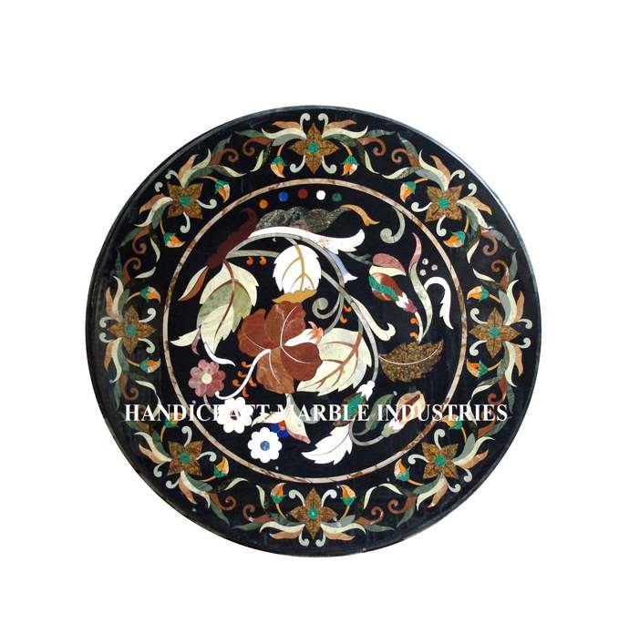 """24"""" Diameter Marble Coffee Center Table Top Floral Inlay Marquetry Decor Table"""