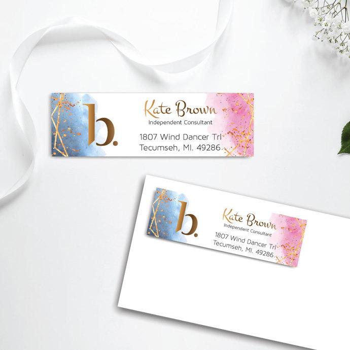 Watercolor BeautyCounter Address Label, Personalized BeautyCounter Return