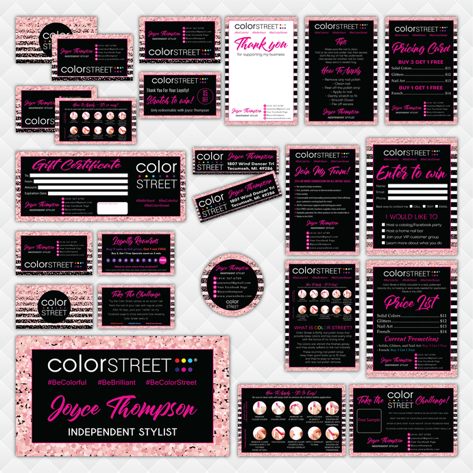 Glitter Personalized Color Street Marketing Set, Color Street Marketing Kit,