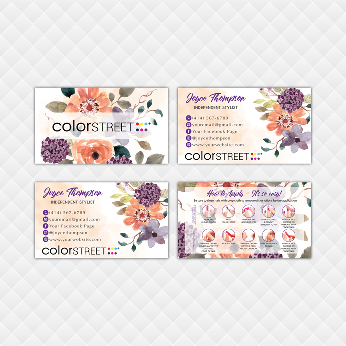 Floral Personalized Color Street Application Cards, Floral Color Street Business