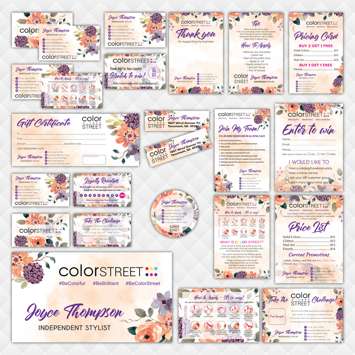 Floral Personalized Color Street Marketing Set, Color Street Marketing Kit,
