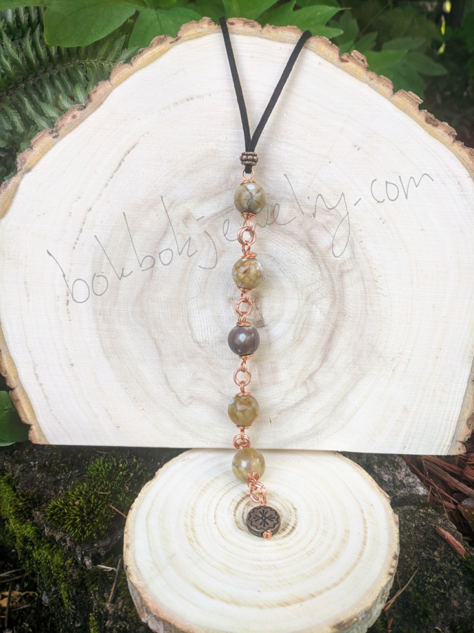 Handmade Copper and Agate Y Necklace