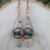 Handmade Long Copper and Green Stone Earrings