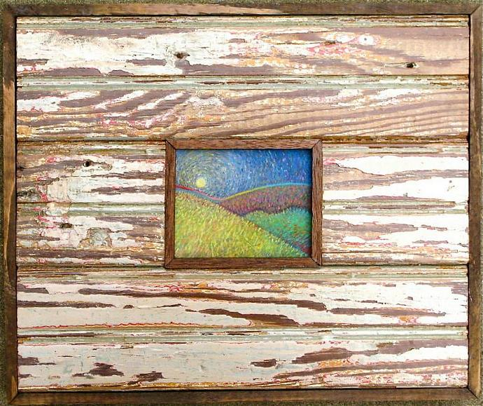 Katrina Wood Frame, Confetti Hills pastel in reclaimed wood from homes destroyed