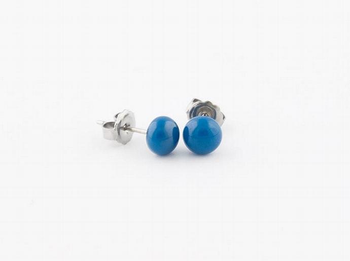 Circle Post Earrings in Blue