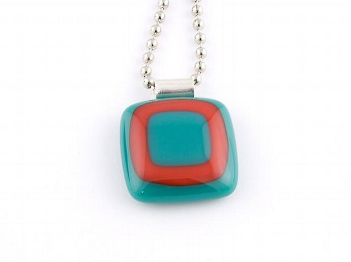 Fused Glass Pendant in Teal Green and Red
