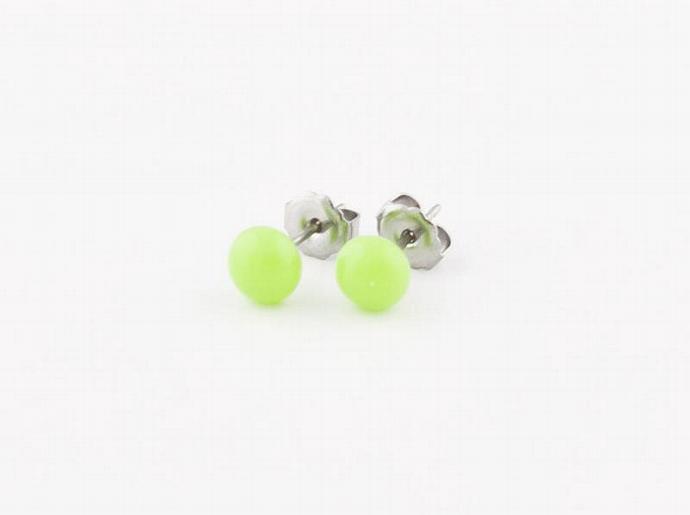 Circle Post Earrings in Lime