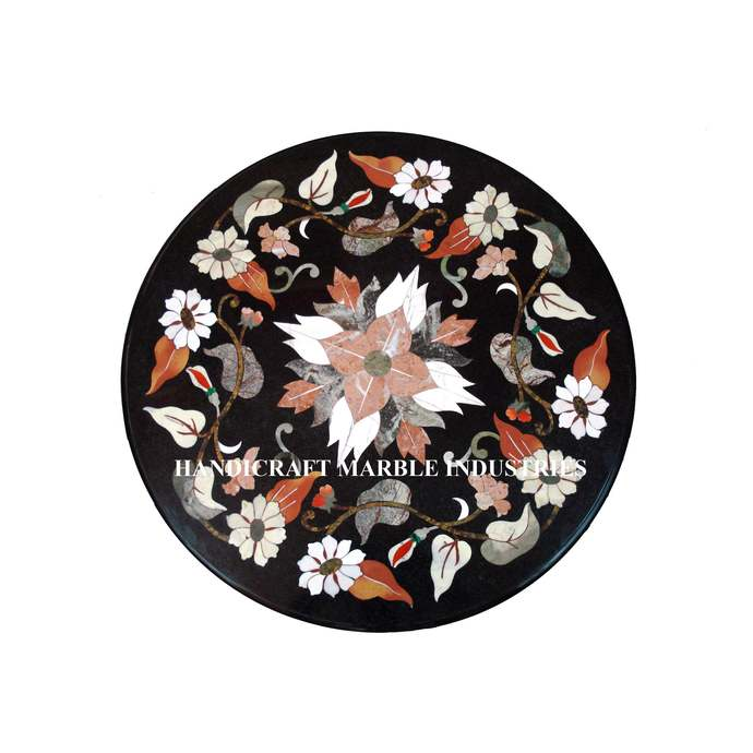 "24"" Diameter Marble Coffee Center Table Top Floral Inlay Marquetry Decor Table"