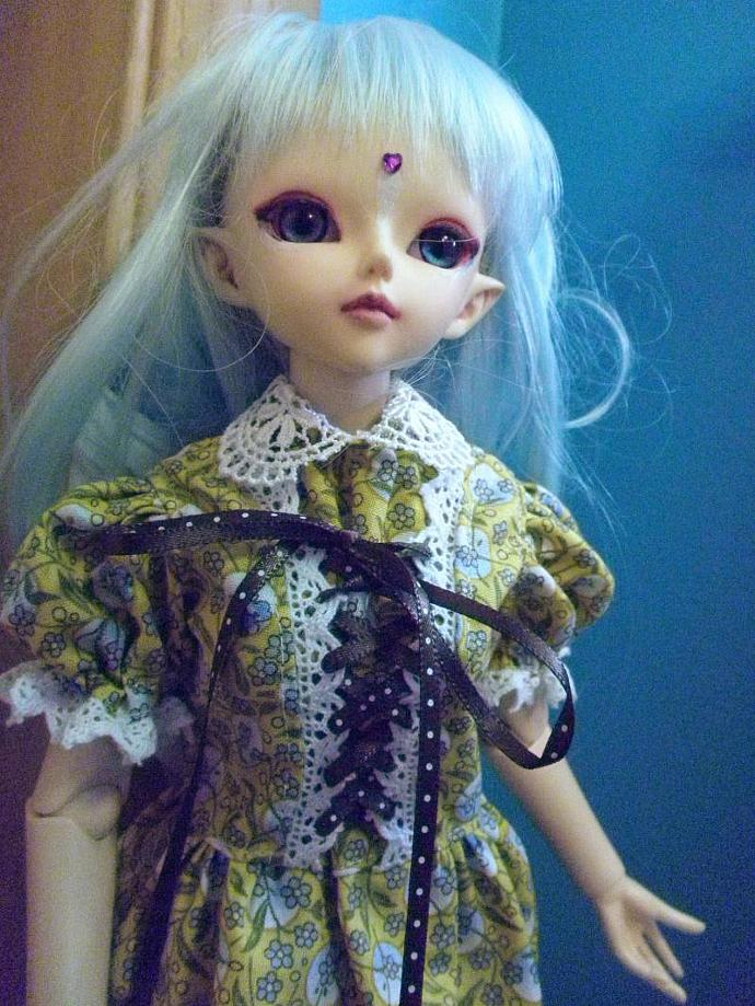 MSD BJD lolita dress lemon yellow with forget-me-nots