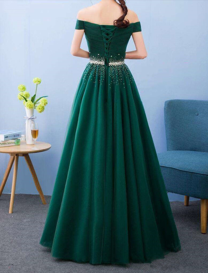 Green Off Shoulder Fashionable Long Party Dress, Green Prom Dress
