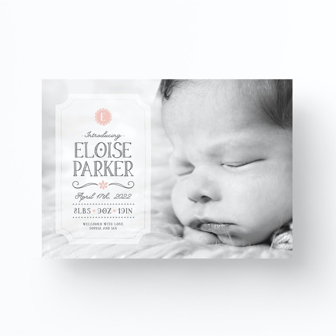 Baby Birth Announcement Card, Custom Baby Photo Birth Announcement