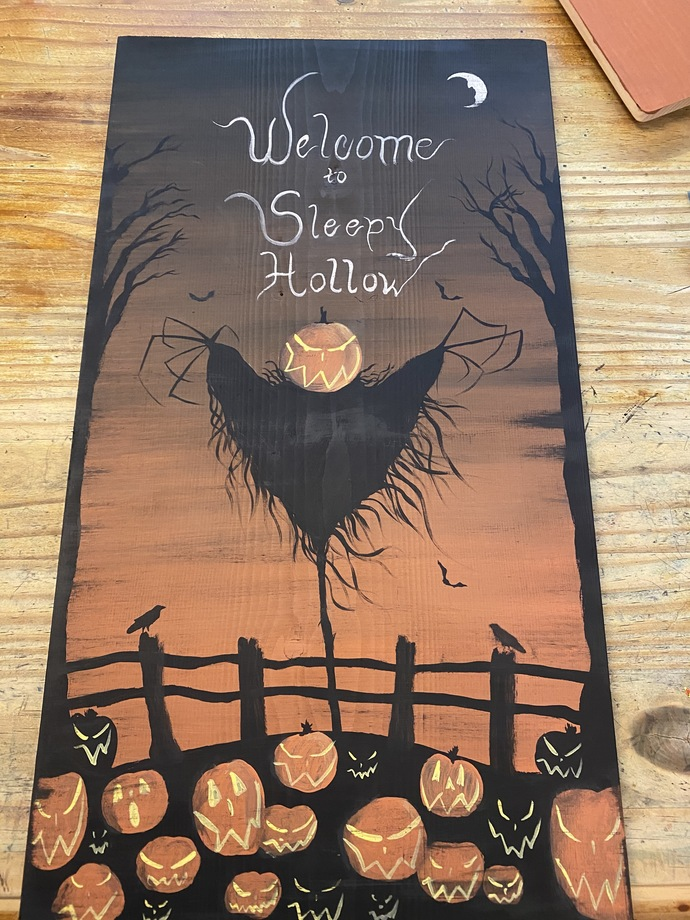 Sleepy Hollow Sign painting scarecrow Headless Horseman New York Folk Art