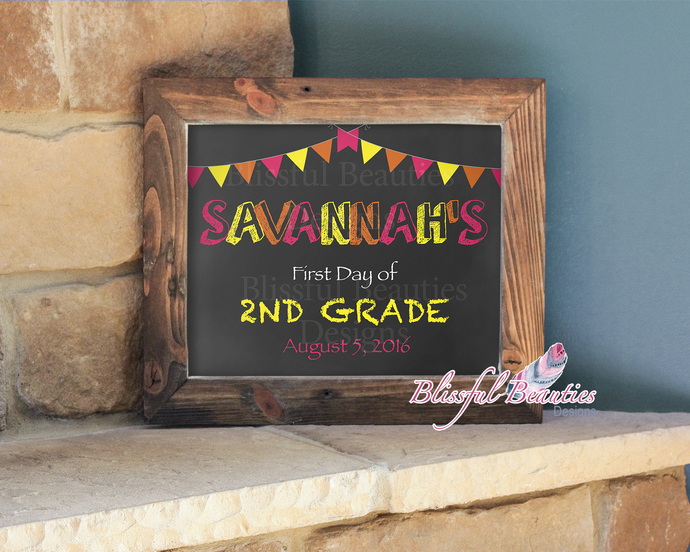 First Day of School Chalkboard Sign-Girl