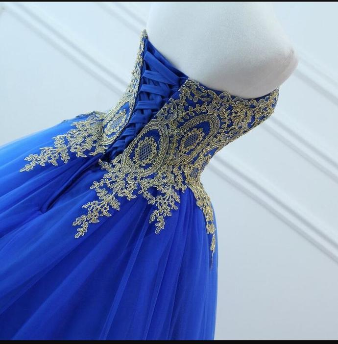 Beautiful Royal Blue Quinceanera Dress, Blue Sweet 16 Gown with Lace Applique