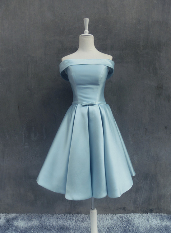 Cute Satin Knee Length Homecoming Dress, Blue Off Shoulder Wedding Party Dress