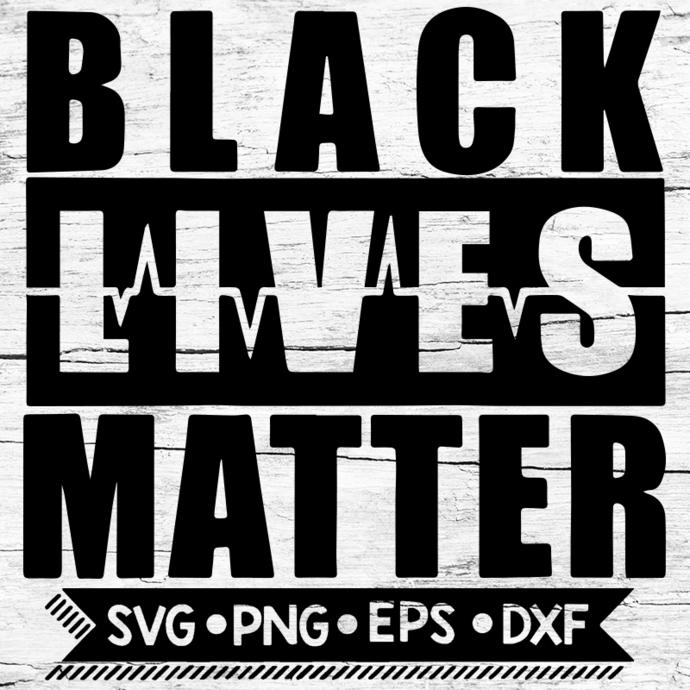 Black Lives Matter Svg, BLM Svg with pulse, George Floyd, Svg, Png, Eps, Dxf