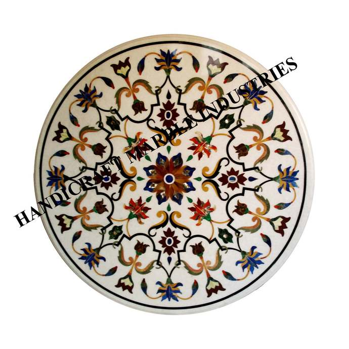 """Table 24"""" X 24"""" Inch Marble Inlay Multi Colour Foral Pietra Dura Marquetry"""